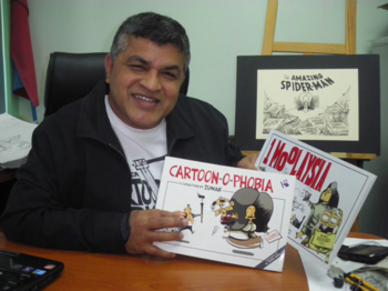 Zunar with two books