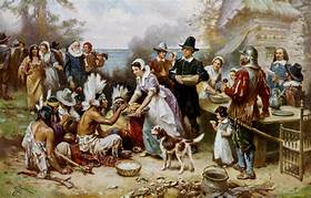 Thanksgiving Portrait Pilgrims and Indians