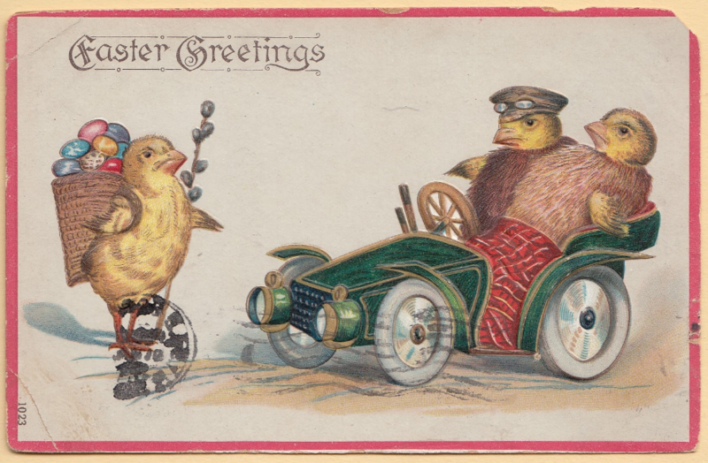 1908 vintage Easter Greetings postcard with automobile