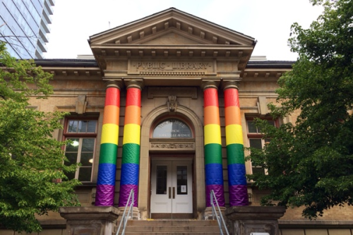 Yorkville Branch Wrapped in Rainbow for World Pride 2014