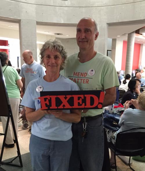 Repair Café coordinators Fern Mosoff and Paul Magder