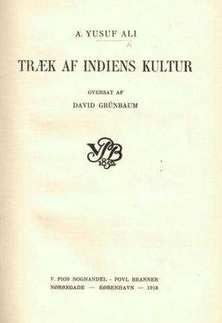 Title page of Træk af Indiens Kultur