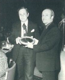 Anthony Stevens receiving the Special Award to Ove Arup and Partners for the Barbican Arts Centre 1981