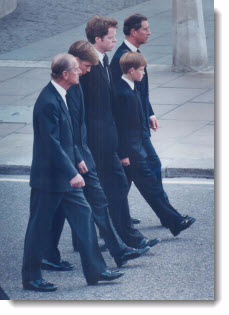 Royal Family at the Princess of Wales Funeral, 1997