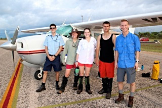 Ready to fly - Frankie, Adeline, Nick and Travis with pilot Nicko