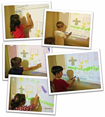 Las ilustraciones y textos se realizan unas veces en papel, con ceras y lápices, y otras en la Pizarra Digital Interactiva (PDI), con tabletas digitales...