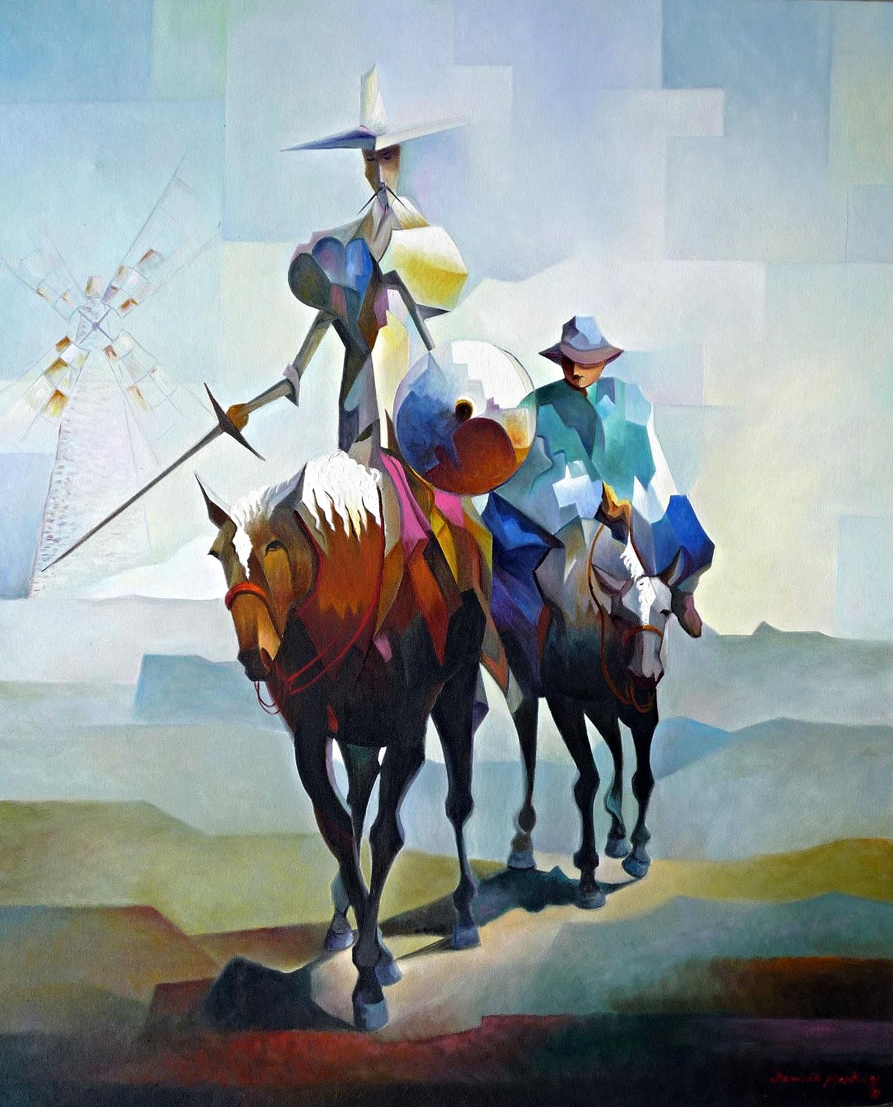 Pintor: DAMIÃO MARTINS. Cuadro: Don Quixote e Sancho pança (120X90)