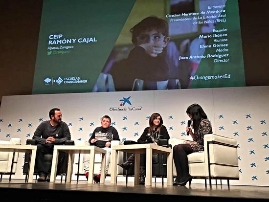 Entrevista realizada a Juan Antonio Rodríguez, un alumno y una representante de la comunidad educativa del Colegio Público 'Ramón y Cajal', con ocasión de su incorporación a la Red internacional de Escuelas Changemaker de Ashoka