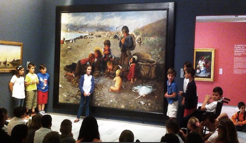 """Nuestra clase de sexto curso trabajó sobre el cuadro """"La Moraga"""" que pintó Horacio Lengo Martínez en 1879."""