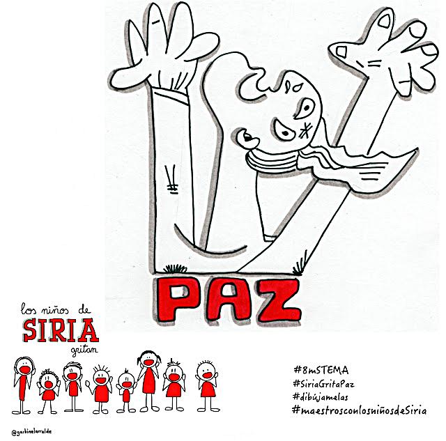 Manos de mujer que gritan junto a los niños de Siria: ¡¡PAZ!! | Garbiñe Larralde  componente del Equipo 'Dibújamelas', junto a Ramón Besonias y otros profesionales.