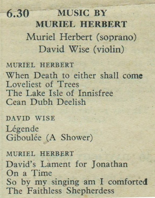 Muriel Herbert BBC recital July 1938