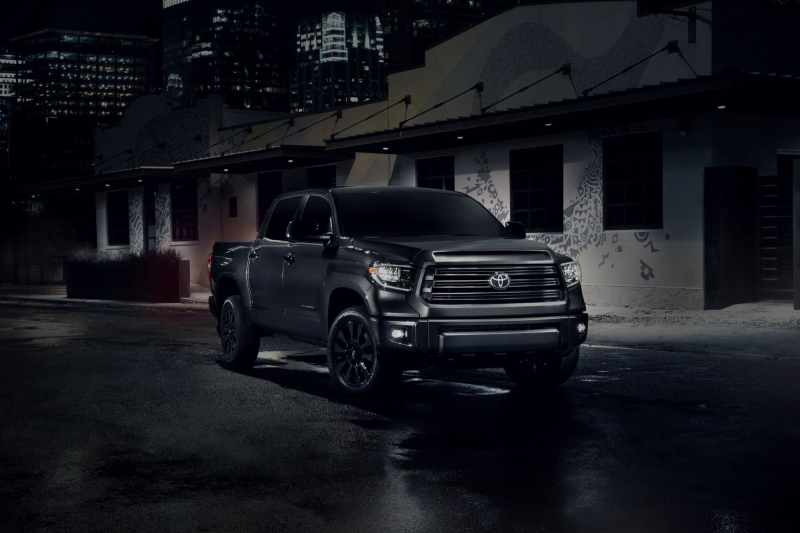 2021 Toyota Tundra Nightshade Special Edition Front Profile Against Building At Night