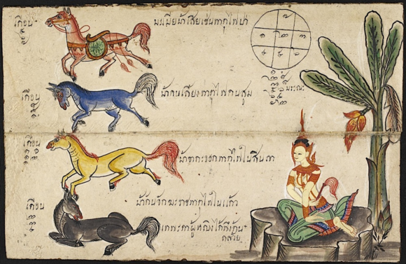 Horoscope for those born in the year of the horse (ม้า ma, as in Chinese). This illustration also shows the female avatar for the year of the horse and the banana tree. (Or.13650, f 4r)