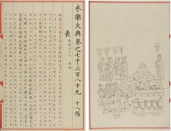 Left: Chapter 7389 (Jiajing to Longqing period, 1562-7) of the Yongle Dadian, concerned mainly with funeral rites (喪禮  sang li) (British Library Or.11758, f.1r) Right: Illustration from the same item (British Library Or.11758, f.3v)