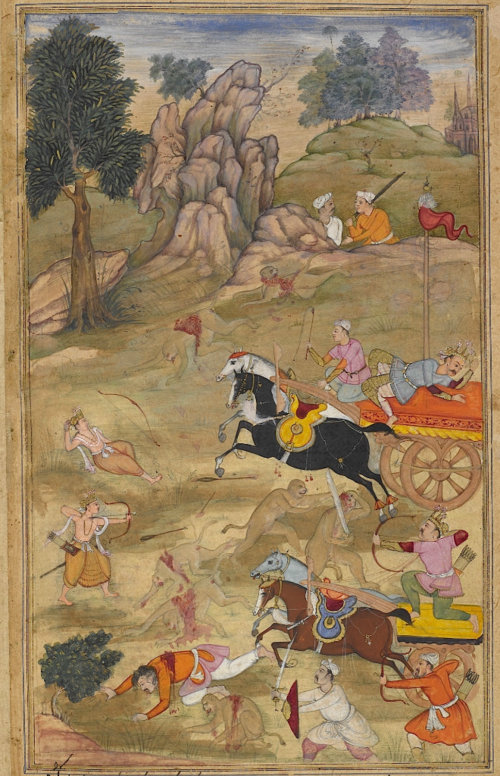 Kusa and Lava defeating Bharata, Lakshmana and the monkey army. European-type Gothic spires are visible on the skyline. Episode from the 14th book, the Aśvamedhikaparva (ʻhorse sacrifice'). Painting attributed to Ās, son of Mahesh (Or.12076, f.62v)