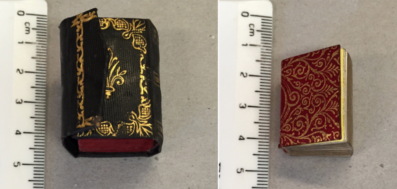 Two tiny Qur'ans, one from 1882 Delhi (left, British Library O.R.70.a.4), the other from 1889 Istanbul (right, British Library O.R.70.a.3)