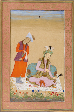 a prince holding a turban ornament, attributed to Muhammad Khan, c. 1633 (British Library Add.Or.3129, f.22r)