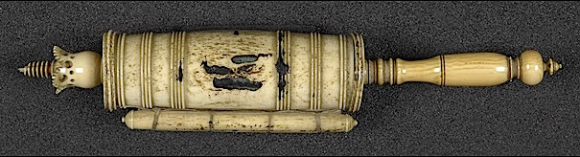 Esther Scroll enclosed in an ivory case with an ivory puller. Europe, 17th century (BL Add MS 11831)