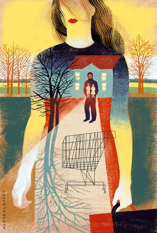 """Ilustración para Middlebury Magazine, reseña sobre el libro """"Leaving Sophie Dean"""", de Alexandra Whitaker. Título del artículo: """"Una resolución pacífica"""". Balbusso."""