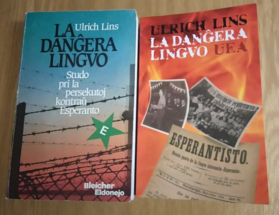 Covers of the two editions of 'La Dangera Lingvo'