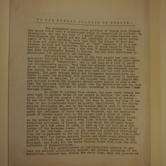 First page of typewritten address 'To the public opinion of Europe'
