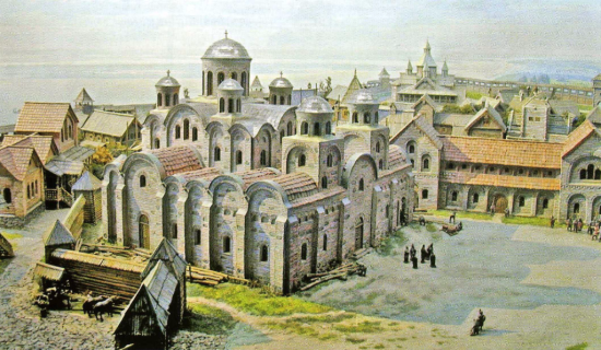 Artist's reconstruction of the 'City of Volodymyr' with the Church of the Dormition