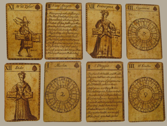 Eight cards from an 18th-century pack of divination pack with pictures and symbols representing mythological and historical figures