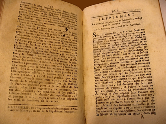First issue of the supplement to the 'Journal de Marseille'