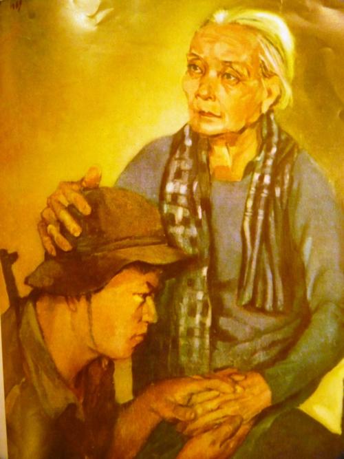 Grandmother. Lacquer. Artist: Phạm Viết Song. Báo Ảnh Việt Nam, 1970, no.152. British Library, SU216(2)