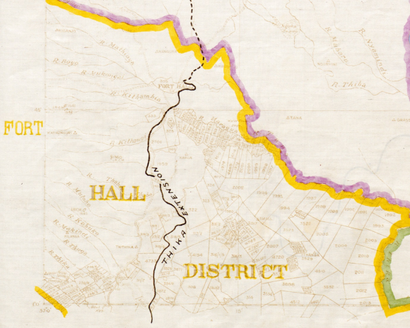 Detail of 'Colony & Protectorate of Kenya. Plans Showing Administrative Boundaries' (WOMAT/AFR/BEA/275/10) also showing the region around Fort Hall.