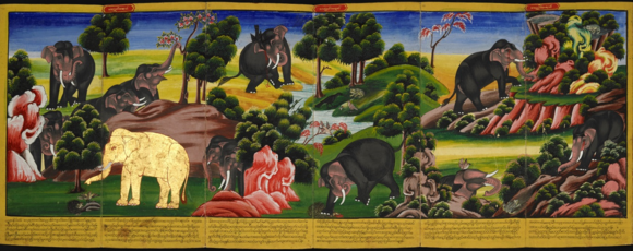 The Jātaka stories about the previous lives of the Gautama Buddha are preserved in all branches of Buddhism. These stories show how he gradually acquired greater strength and moral stature as his soul passed from one incarnation to the other. Shown above is a scene from the Latukika Jataka. The Bodhisatta, the leader of the elephants (gilded) protects the offspring of a quail who had laid her eggs in the feeding ground of the elephants. British Library, Or. 13538, ff. 20-22