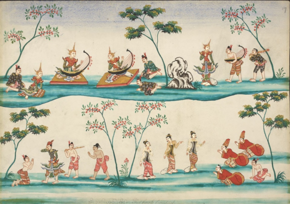 The harp contest of Prince Inaung. British Library, Or. 3676, f. 19