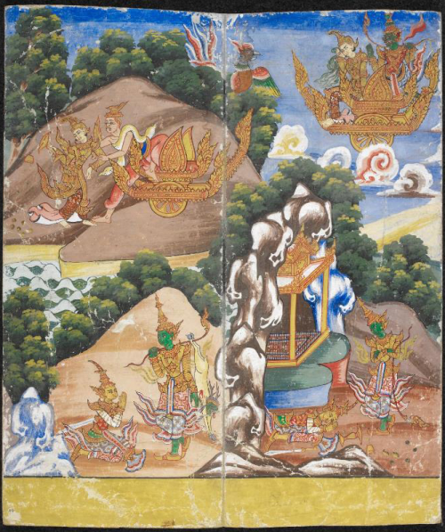 Scenes from the Ramayana: Ravana, in disguise as a hermit, begs Sita to come with him to his kingdom. When she refuses, Ravana summons his magic chariot and sweeps Sita up and away, into the sky and over the forests (top). When Rama and Lakshmana finally find their way home Sita is gone (bottom). British Library, Or. 14178, f. 10