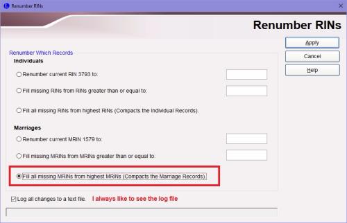 Renumber MRINs dialog box