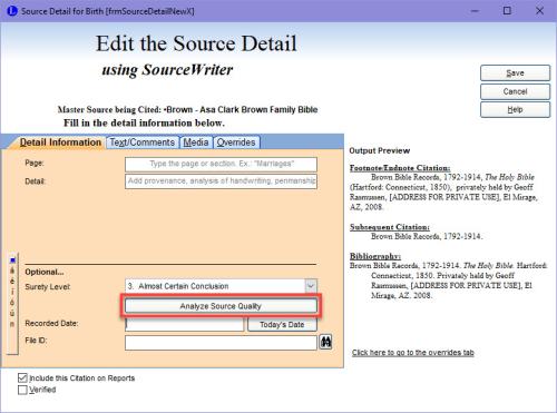 Analyze Source Quality option