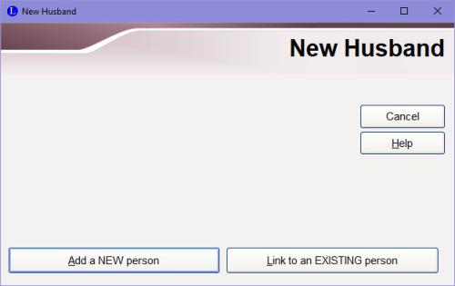 New Husband dialog box