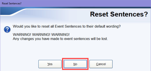 Reset Sentences? dialog box