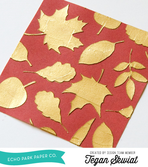 "Fall Wall Hanging with Gold Textured Background by Tegan Skwiat for #EchoParkPaper.  Tegan used the ""The Story of Fall"" collection, along with Echo Park's Designer Stencils to create this stunning golden background!"