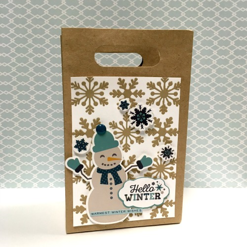 """Embellish plain gift bags with the """"Hello Winter"""" collection by #EchoParkPaper.  Designer Tania Willis shows how to add extra texture with designer stencils!"""