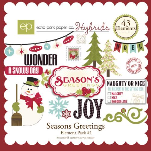 Seasons Greetings Digital Element Pack #1 by #EchoParkPapaer