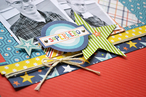 "Superhero Scrapbook Layout by Aly Dosdall with the ""Little Man"" collection by #EchoParkPaper"