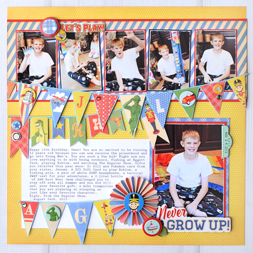 """Never Grow Up Layout"" by Jana Eubank with the ""Toy Box"" collection from #CartaBellaPaper"