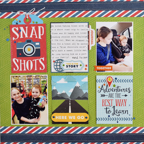 "SnapShots layout by Becki Adams with the ""Go. See. Explore"" collection by #EchoParkPaper"