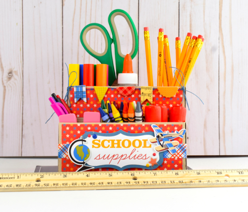 DIY School Supplier Organizer by Tya Smith for #EchoParkPaper and #CartaBellaPaper
