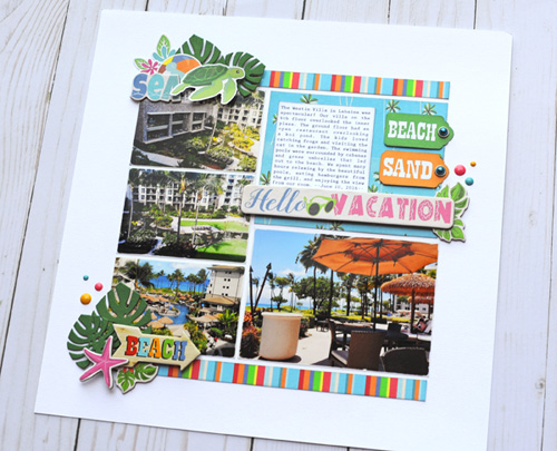 "Hello Vacation Scrapbook Layout by Jana Eubank featuring the ""Summer Splash"" collection by #CartaBellaPaper"