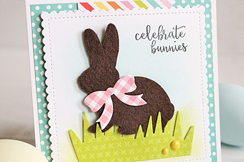 """""""celebrate bunnies""""  card by Kimberly Crawford with the """"Easter"""" collection, designer dies, and designer stamps by #EchoParkPaper"""
