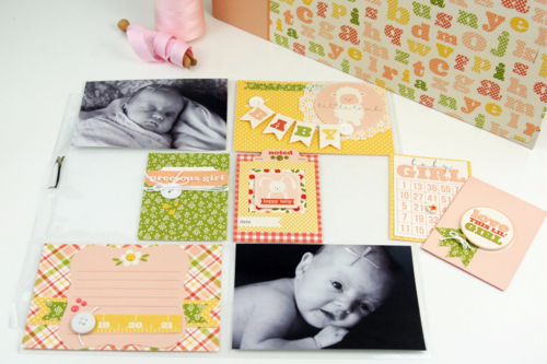 """It's a Girl"" Album and Pocket Page Kit Layout by Becki Adams for #EchoParkPaper"