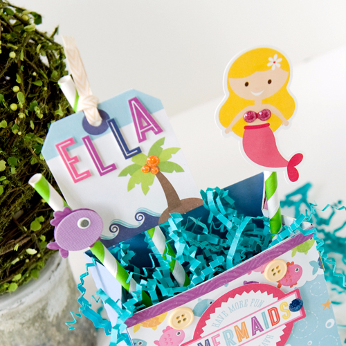 "Create a sweet little mermaid gift bag like this one by Tegan Skwiat with the ""Let's Be Mermaids"" collection by #EchoParkPaper"