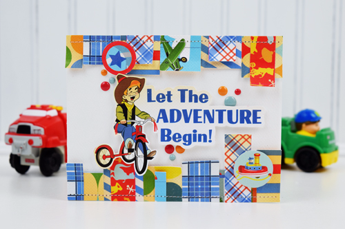 """Adventure"" card by Becki Adams featuring the ""Toy Box"" collection by #CartaBellaPaper"