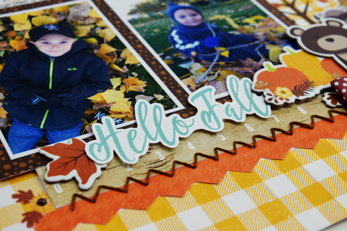 """Hello Fall"" layout by Becki Adams with the ""A Perfect Autumn"" collection by #EchoParkPaper"